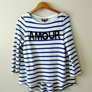 Lord & Taylor Striped Amour Knit Top Small